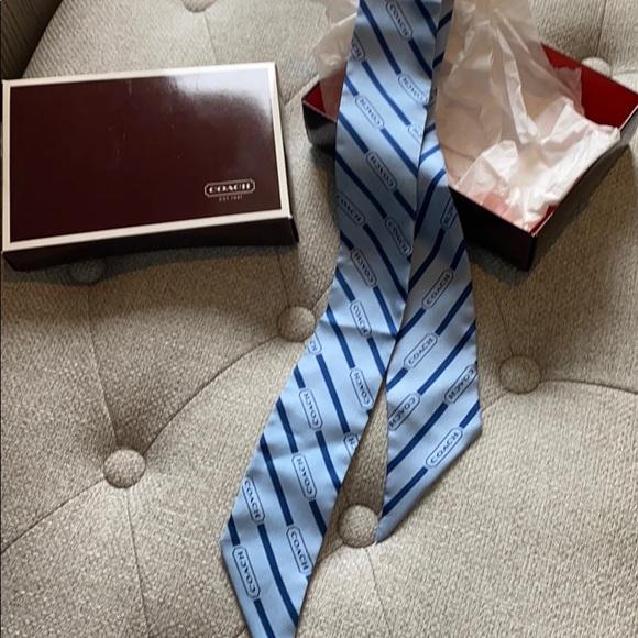 NEW Coach light blue necktie scarf